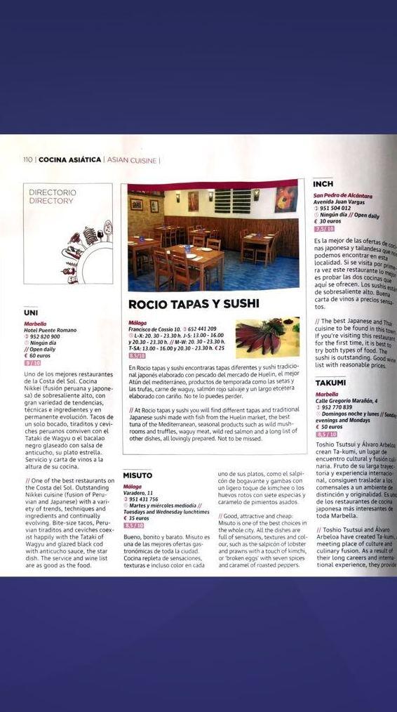 """Reportaje """"Una cultura Alimentaria que triunfa"""" - pag 4 - ROCÍO TAPAS Y SUSHI"""