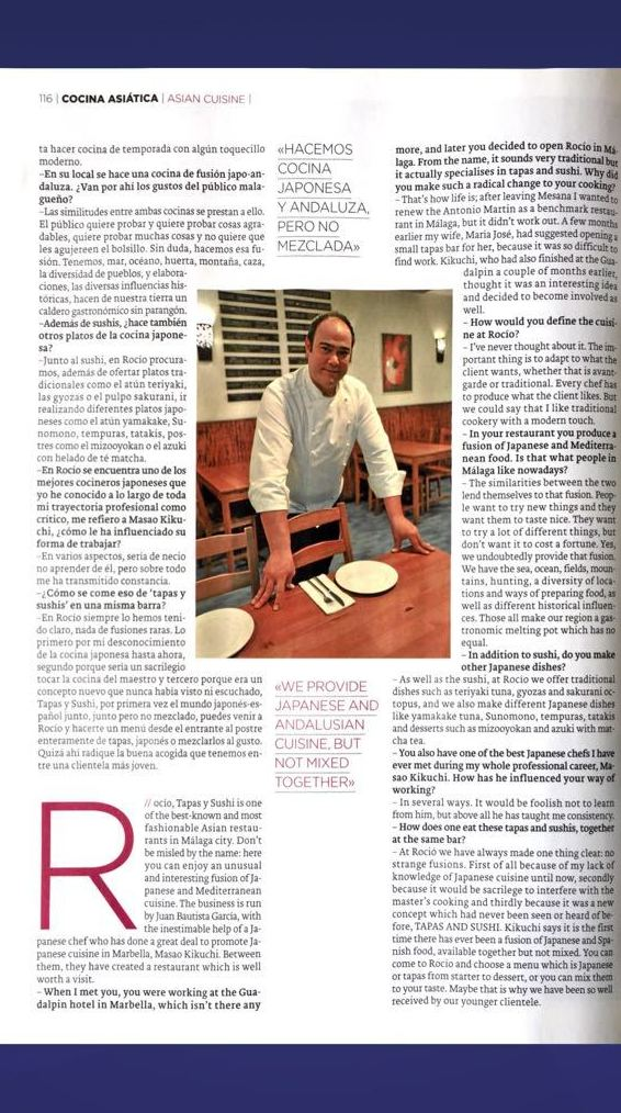 """Reportaje """"Una cultura Alimentaria que triunfa"""" - pag 6 - ROCÍO TAPAS Y SUSHI"""